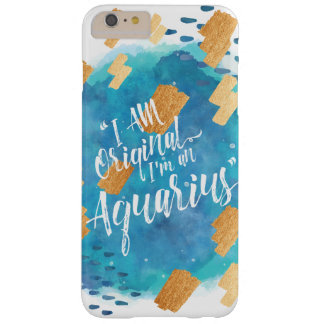 """I'm an Aquarius"" Zodiac Aqua & Gold Watercolour Barely There iPhone 6 Plus Case"