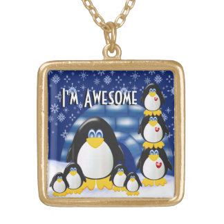 I'm Awesome!  - Large gold finish necklace