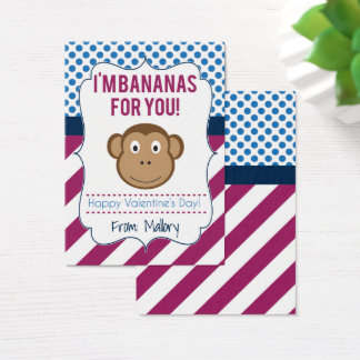 I'm Bananas for You Monkey Valentine Business Card