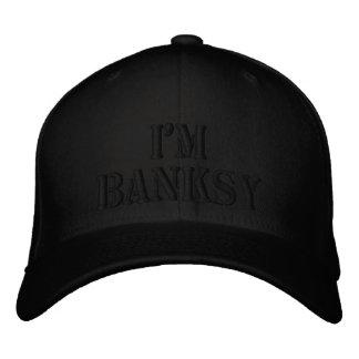 I'm Banksy Stencil Basic Black Flexfit Wool Cap Embroidered Hat