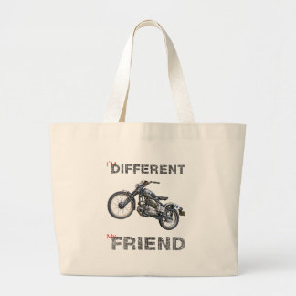 Im different motorcycle large tote bag