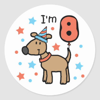 I'm Eight Doggie Classic Round Sticker
