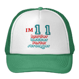 I'm Eleven. Harder Better Faster Stronger! Birthda Hats