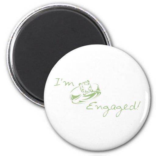 I'm  Engaged (Green Diamond Ring) Refrigerator Magnets