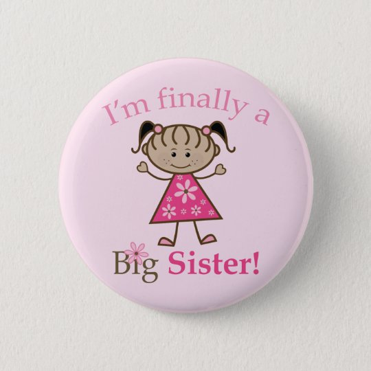 I'm Finally a Big Sister Ethnic Stick Figure Girl 2 Inch Round Button