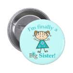 I'm Finally a Big Sister Stick Figure Girl 2 Inch Round Button