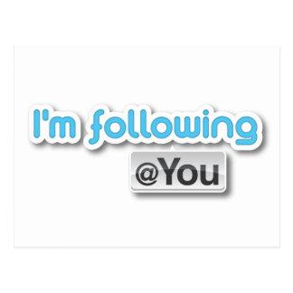 """I'm following @you"" Postcard"