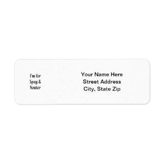 I'm for spay & neuter custom return address labels