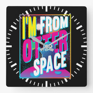 I'm From Otter Space - Cute Sea Novelty Square Wall Clock