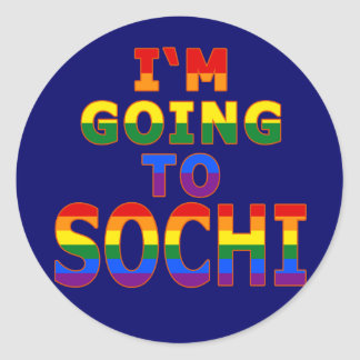 I'm Going to Sochi in Gay Pride Rainbow Colors Round Sticker
