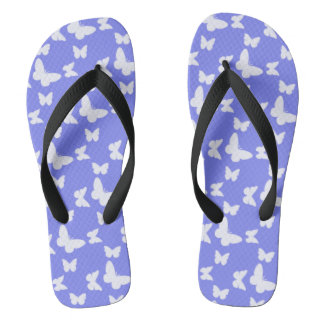 I'm Happy! blue butterfly Flip Flops