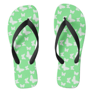 I'm Happy! green butterfly Flip Flops