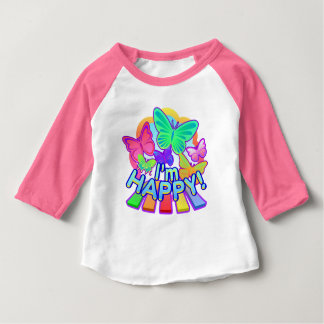 I'm Happy! pink baby Raglan T-shirt