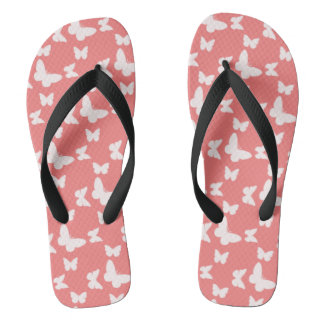 I'm Happy! red butterfly Flip Flops