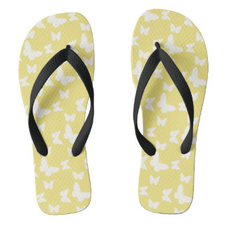 I'm Happy! yellow butterfly Flip Flops