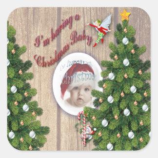 I'm having a Christmas Baby Square Sticker