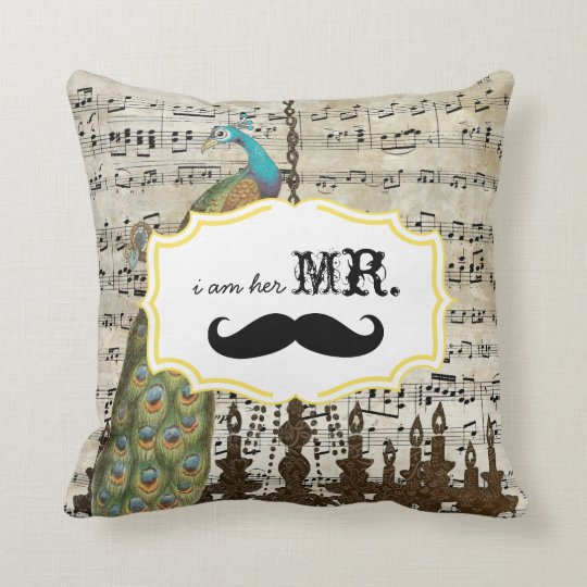 I'm Her Mr. Vintage Sheet Music Moustache Peacock Throw Pillow