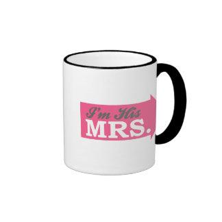 I'm His Mrs. (Hot Pink Arrow) Ringer Coffee Mug