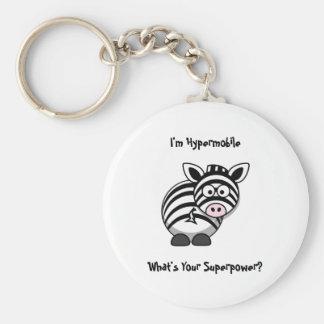 I'm Hypermobile, What's Your Superpower? Zebra Basic Round Button Keychain