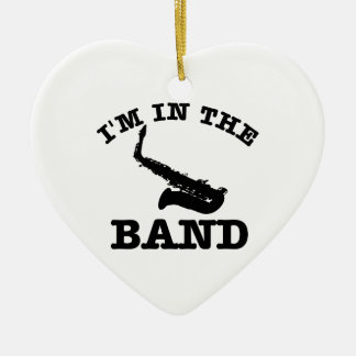 I'm in the band Saxophone designs Ceramic Heart Ornament
