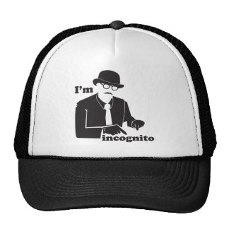 I'm incognito in disguise as a man with a bowler trucker hat