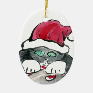 I'm invisible - right says Gray Kitten Ceramic Ornament
