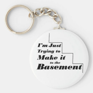 I'm just trying to make it to the Basement Basic Round Button Keychain