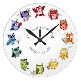 Im not a morning person - rainbow owls wallclock