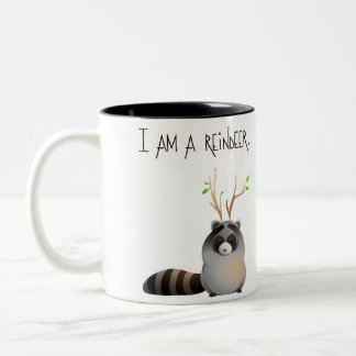 I'm not a racoon (for right-handed) Two-Tone coffee mug
