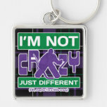 I'm Not Crazy, Funny Hockey Goalie Keyring Silver-Colored Square Keychain
