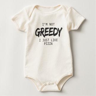 I'm Not Greedy I Just Like Pizza Print Baby Bodysuit