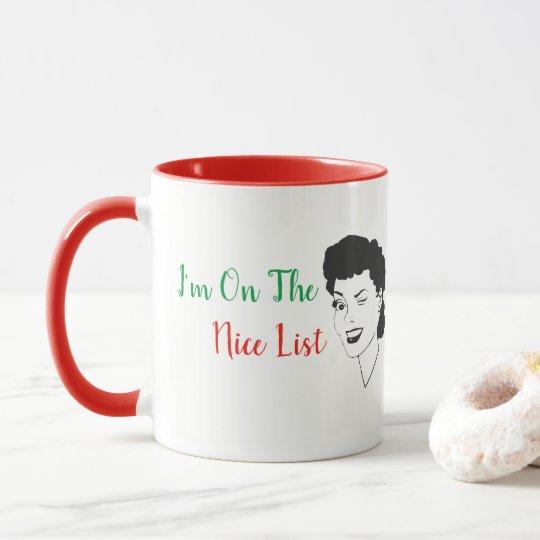 I'm On The Nice List Retro Style Christmas Mug