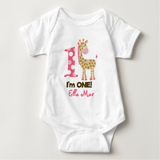 Im ONE Pink Giraffe 1st Birthday Creeper Bodysuit