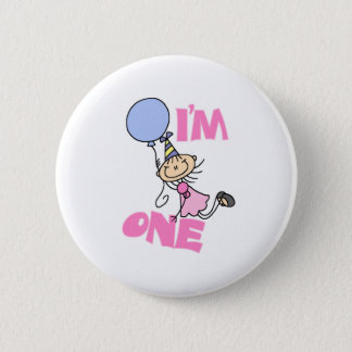 I'm One Stick Figure Girl Birthday 2 Inch Round Button