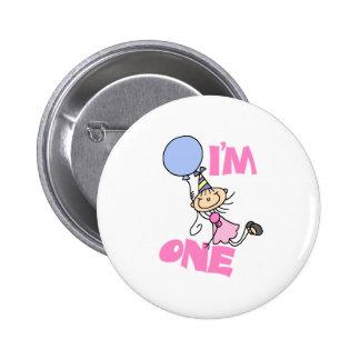 I'm One Stick Figure Girl Birthday 2 Inch Round Button