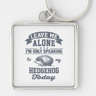 I'm Only Speaking To My Hedgehog Today Silver-Colored Square Keychain