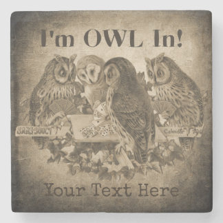 """I'm Owl In"" (All In) Humorous Poker Night Stone Coaster"