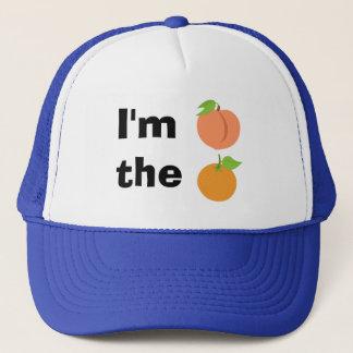 I'm peach the orange trucker hat