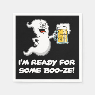 I'm Ready For Some Boo-ze Funny Ghost and Beer Paper Napkin