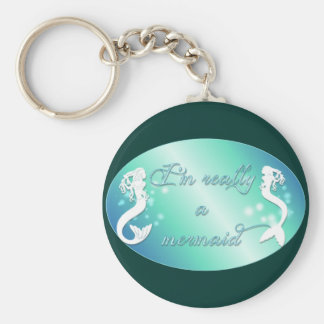 I'm really a mermaid basic round button keychain