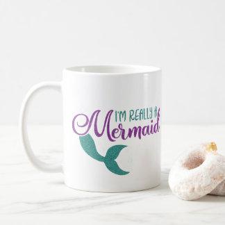 I'm really a Mermaid Purple Teal Glitter Texture Coffee Mug