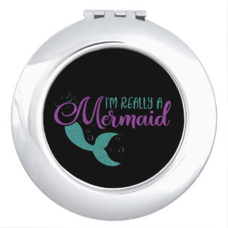 I'm really a Mermaid Purple Teal Glitter Texture Compact Mirror