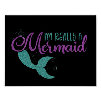 I'm really a Mermaid Purple Teal Glitter Texture Poster