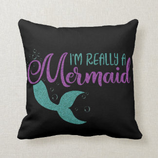 I'm really a Mermaid Purple Teal Glitter Texture Throw Pillow