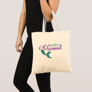I'm really a Mermaid Purple Teal Glitter Texture Tote Bag