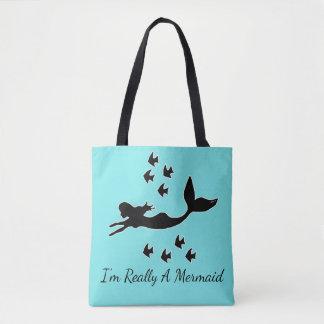 I'm Really A Mermaid Silhouette Aqua Tote Bag