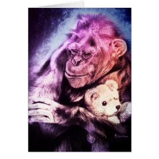 I'm sending you a hug... Chimpanzee and Teddy Bear Card