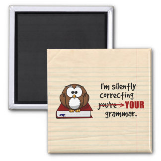 I'm Silently Correcting Your Grammar Sarcastic Owl Magnet