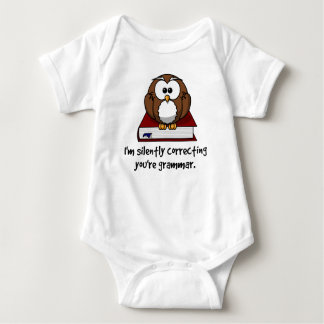 I'm Silently Correcting Your Grammar Wise Owl Baby Bodysuit