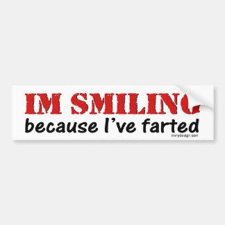 I'm Smiling Because I've Farted Bumpersticker Car Bumper Sticker